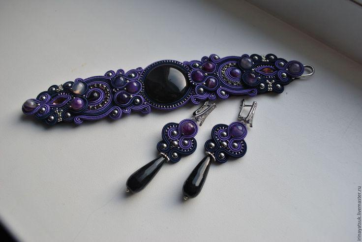 Купить Комплект браслет и серги - тёмно-фиолетовый, украшения ручной работы, браслет, серьги длинные