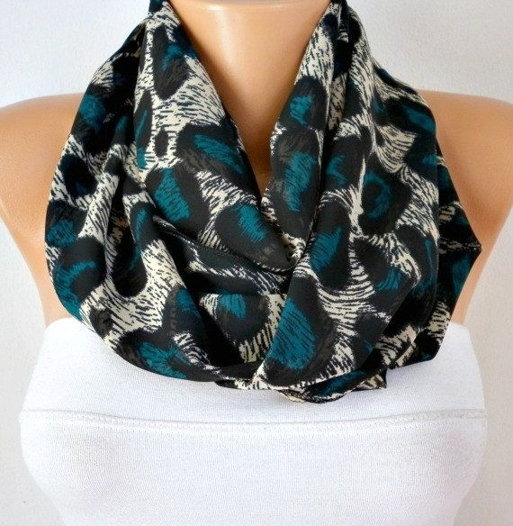 Peacock Leopard  Infinity Scarf Shawl Circle Scarf Loop by anils, $19.50