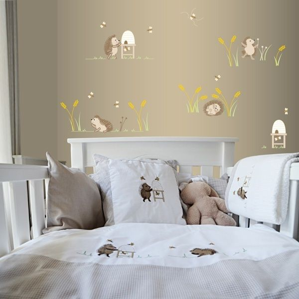 Happy Hedgehogs with stone gingham trim cot linen from www.tomandbella.co.za