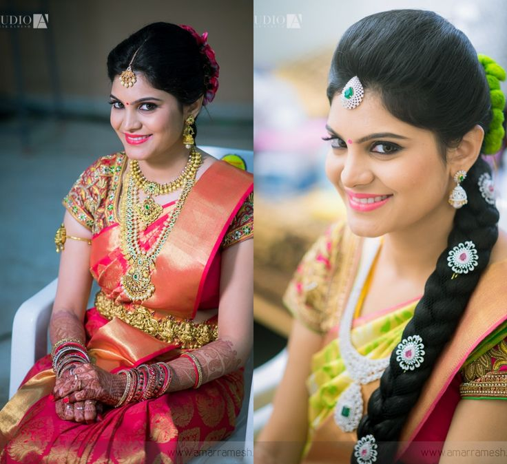 South Indian bride. Gold Indian bridal jewelry.Temple jewelry. Jhumkis.Red and gold silk kanchipuram sari.Braid with fresh flowers. Tamil bride. Telugu bride. Kannada bride. Hindu bride. Malayalee bride.Kerala bride.South Indian wedding.