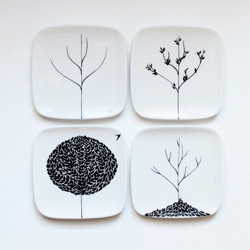 simple four seasons plate set LOVE the b/w