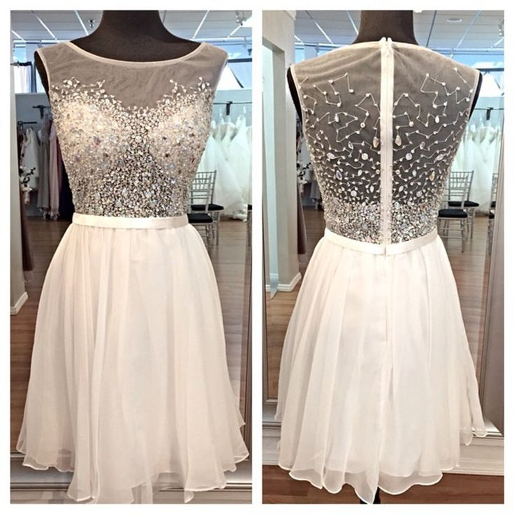 Best A-line Homecoming Dresses With Beading Chiffon Sleeveless White Ajax Tenue 2016 Voetbal Cheap Vestidos De Quinceanera