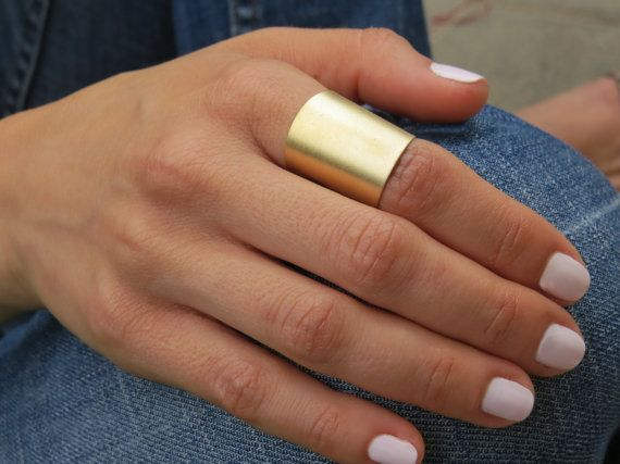 Gold ring  Wide band ring Adjustable ring Tube by HLcollection, $22.00