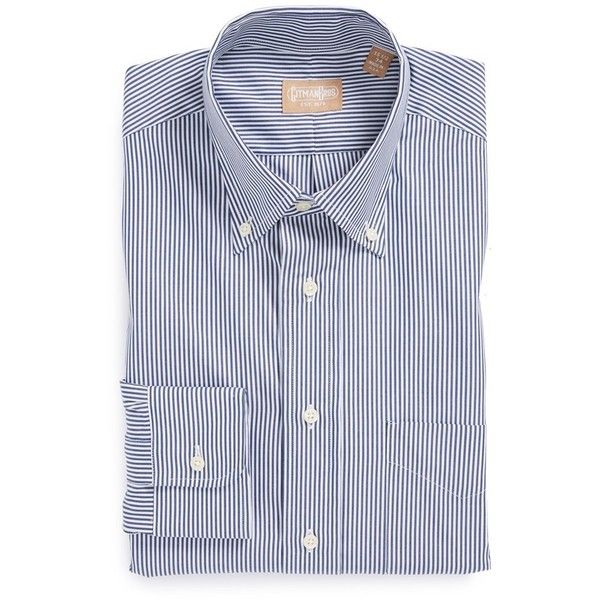 Gitman Regular Fit Bengal Stripe Cotton Broadcloth Button Down Dress... (493.680 COP) ❤ liked on Polyvore featuring men's fashion, men's clothing, men's shirts, men's dress shirts, navy, mens navy button down shirt, mens american flag button down shirt, mens button down shirts, mens navy blue dress shirt and mens patterned shirts