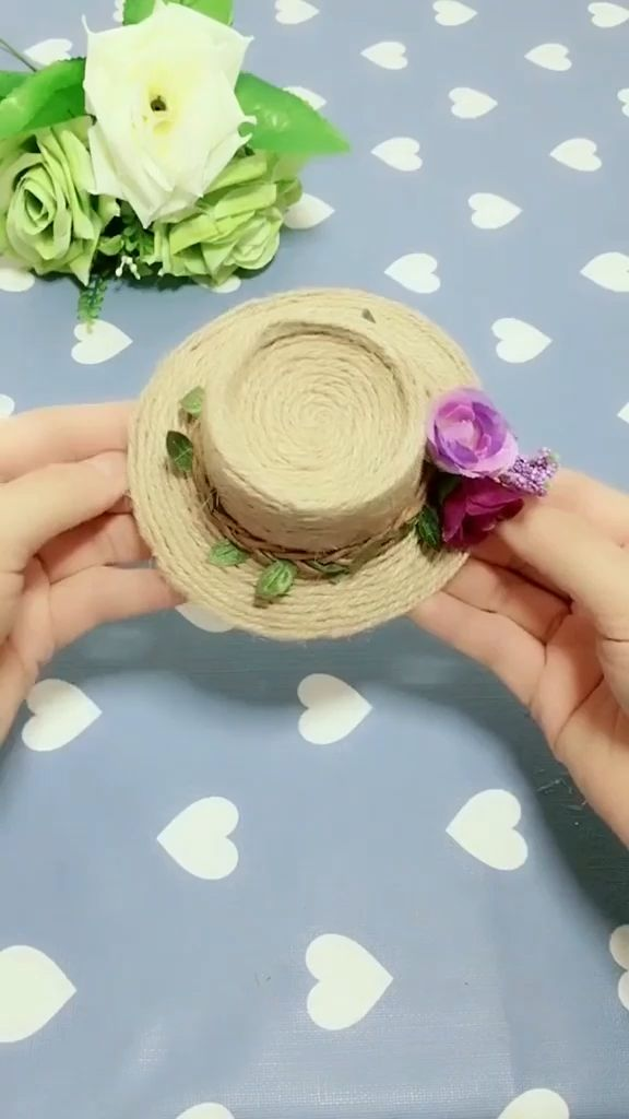 Use a disposable cup and cotton line to make straw hat, it is very easy ,save it ,try to make it ! Follow us, get more exciting and the idea.