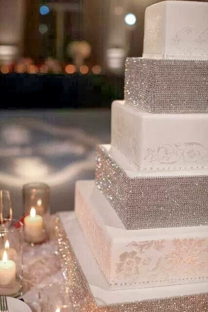 Sparkle Wedding Cake I would put gold glitter instead of silver and make it bigger and put red roses all over!!