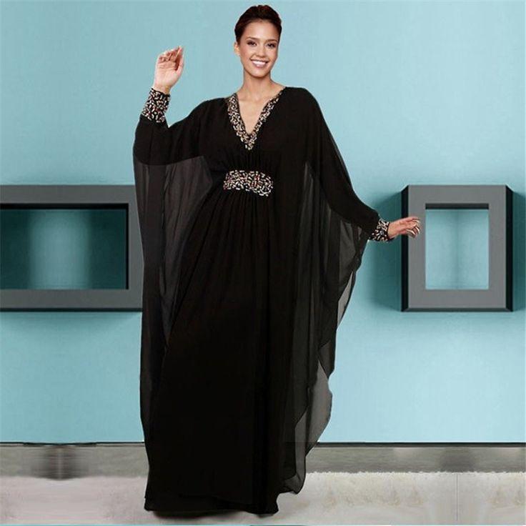 2016 nueva caftán Dubai árabe Kaftan moldeado cristalino de la gasa negro manga…