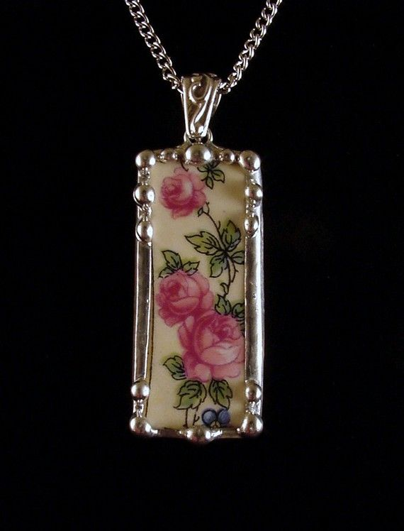 Trailing Roses Vintage Broken China Jewelry Necklace Pendant made from broken china plate