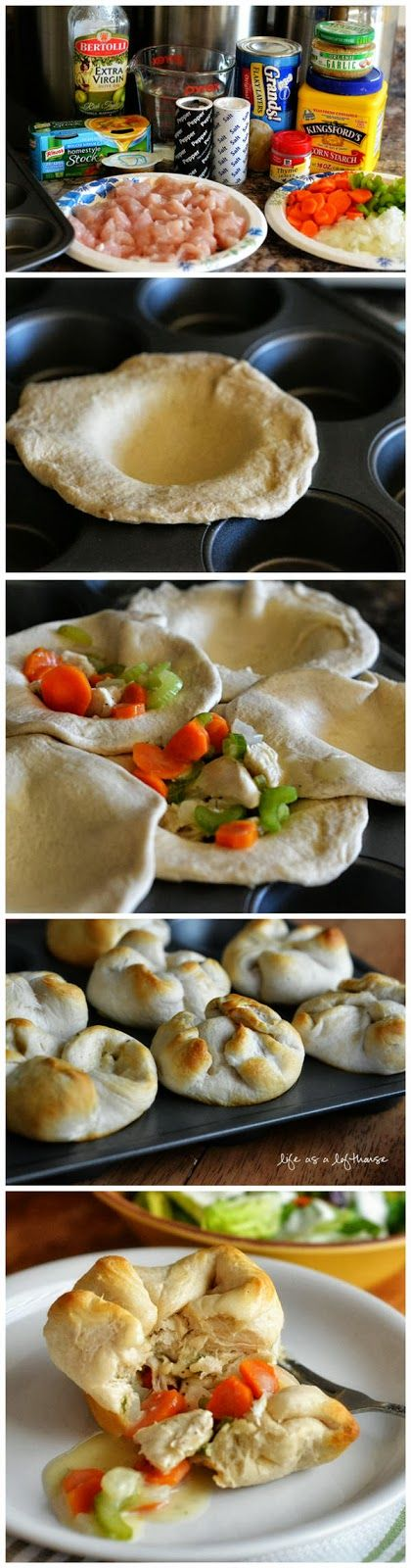 Chicken Pot Pie Biscuits. They fit inside a muffin tin. Mmmm delicious!  :)