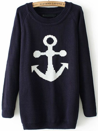 Navy Long Sleeve Anchors Print Knit Sweater