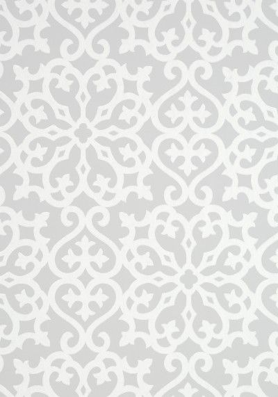 Allison Grey (T35182) - Thibaut Wallpapers - A large scale symmetrical geometric design with a Moroccan feel with a hand painted effect. Shown in the white on grey. Wide width. Pattern repeat 64cm. Please request sample for true colour match. This is an American wallcovering and will take between 7-10 working days for delivery.