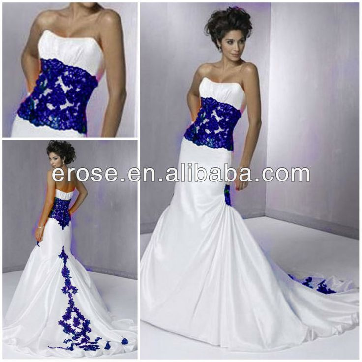 Wj 006 Strapless Chapel Train Royal Blue Wedding Dresses
