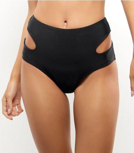Black High Waist Cut Out Bikini Bottoms | New Look