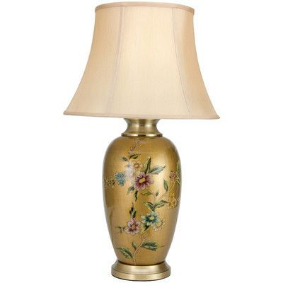 Oriental furniture flowers on pale porcelain vase 27 5 h table lamp with bell shade