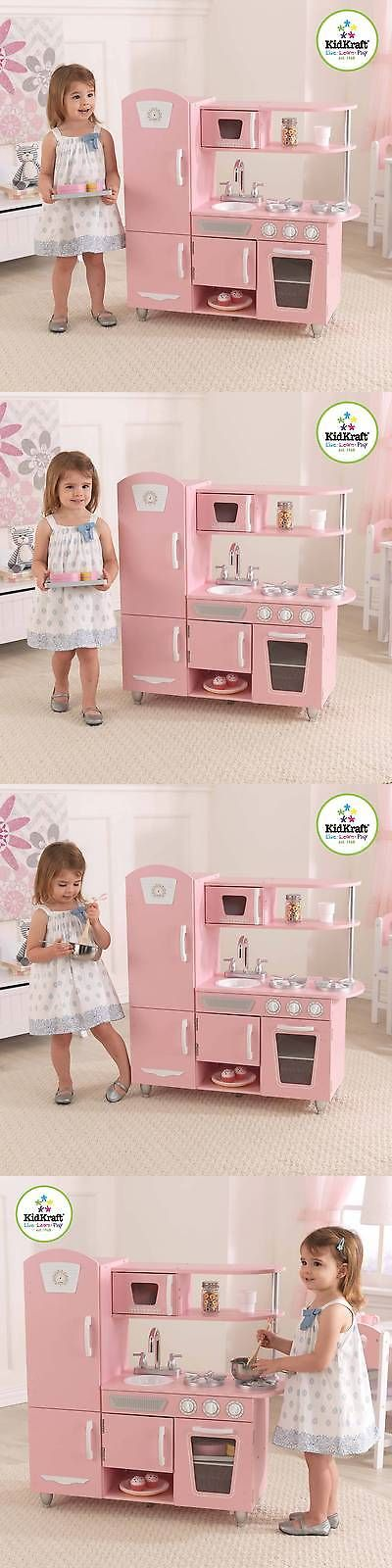 Kitchens 158746: Kidkraft Vintage Wooden Play Kitchen, Pink -> BUY IT NOW ONLY: $104.69 on eBay!