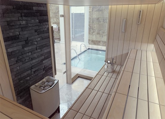 Passion designer sauna being produced by Tylo in Sweden, supplied and installed in the UK by Leisurequip Ltd
