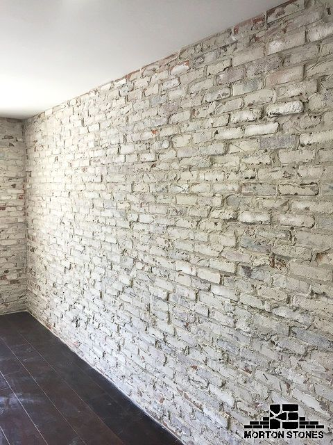 These Whitewashed Brick Walls Give The Space More Personality And Make It More Inviting Mortonstones Bric Brick Veneer White Wash Brick Exposed Brick Walls