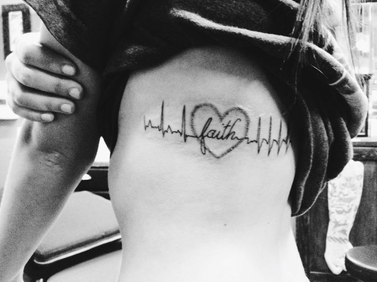 My first tattoo. My EKG before my surgery, the love and faith I had for myself and others to get me though this heart surgery, and the EKG after my surgery. This tattoo means a lot to me.