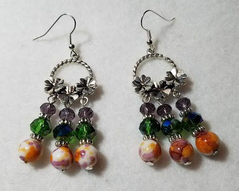 Czech glass chandelier earrings in shades of purple, green & orange.