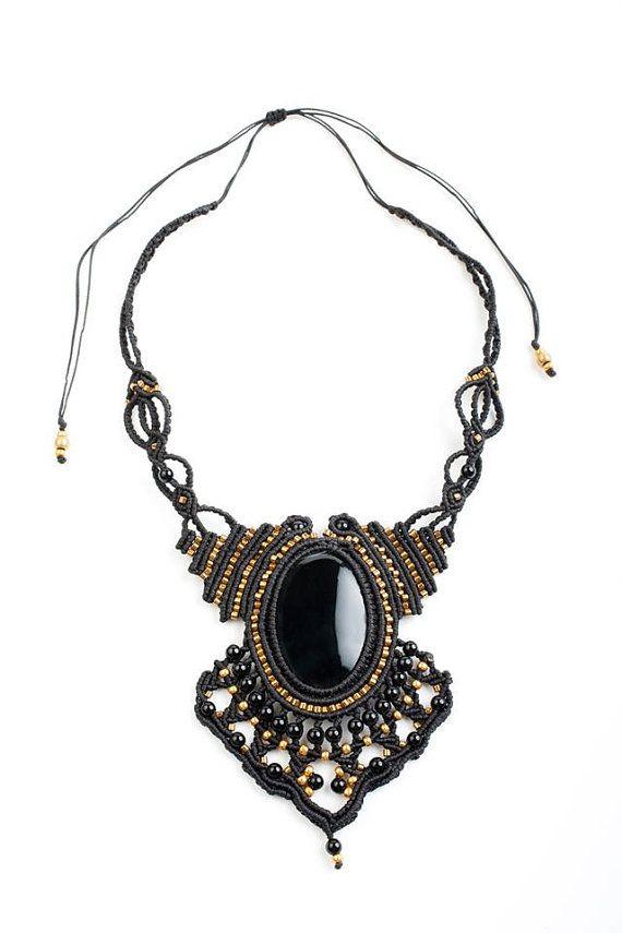 black magic statment piece, handmade micro macrame necklace