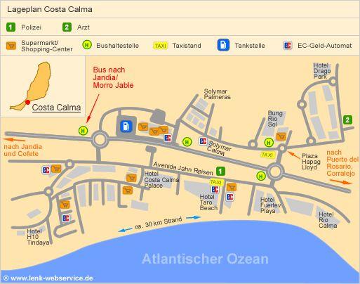 Lageplan Costa Calma (Fuerteventura) Bushaltestelle