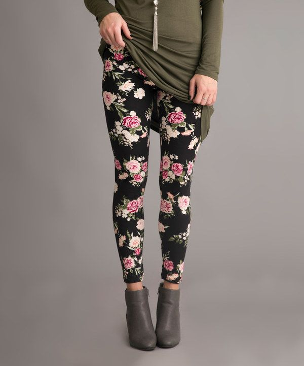 Look at this Black & Pink Floral Leggings on #zulily today!
