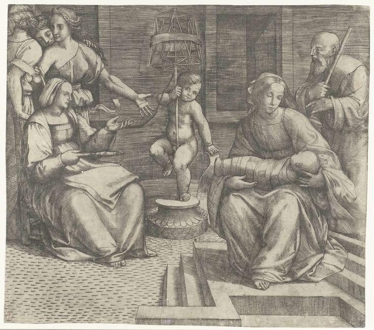 Giacomo Francia | Heilige Familie met Elisabeth en Johannes de Doper, Giacomo Francia, 1490 - 1557 | Heilige Familie met Elisabeth zittend op stoel terwijl zij wol spint en de jonge Johannes de Doper staand met spoel voor gesponnen wol.