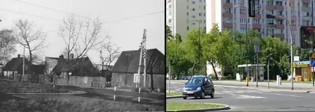 Skrzyzowanie Reymonta i Wolczynskiej 1972 i dzisiaj