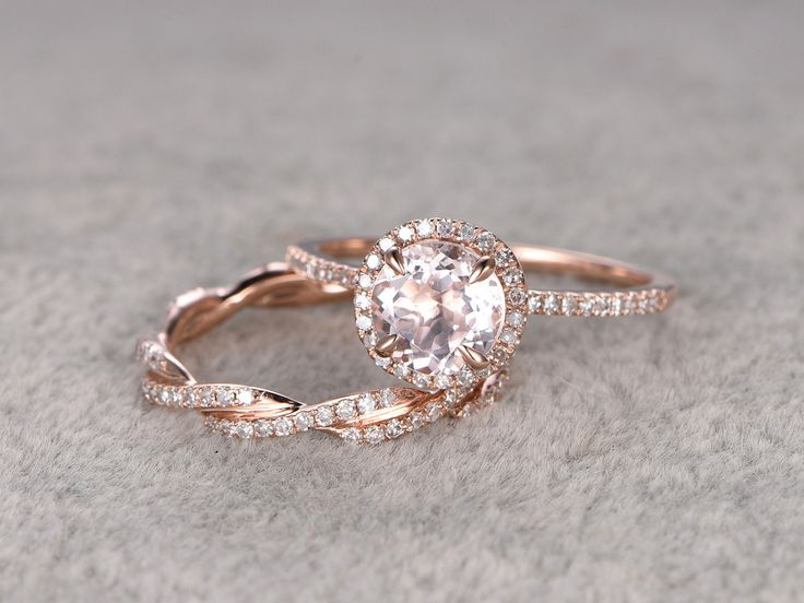 2 Morganite Bridal Ring Set,Engagement ring Rose gold,Twist Curved Diamond wedding band,14k,7mm Round Gemstone Promise Ring,Matching band by popRing on Etsy