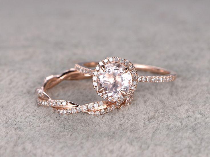 2 Morganite Bridal Ring Set,Engagement ring Rose gold,Twist Curved Diamond wedding band,14k,7mm Round Gemstone Promise Ring,Matching band by popRing on Etsy