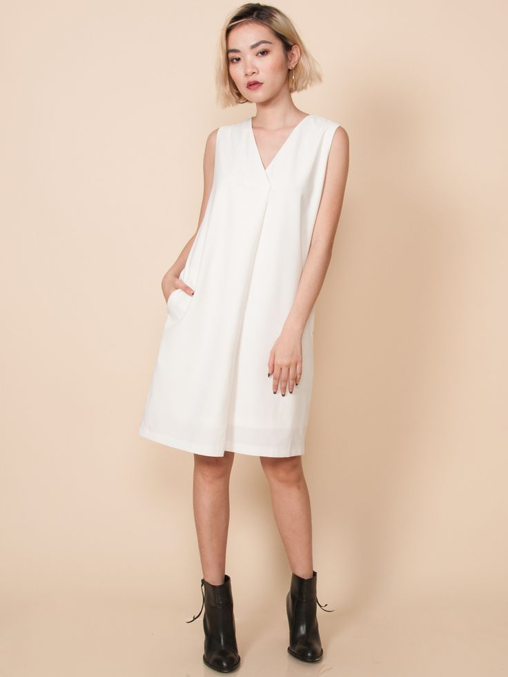 AVERY Pleat Front Midi Dress (White)