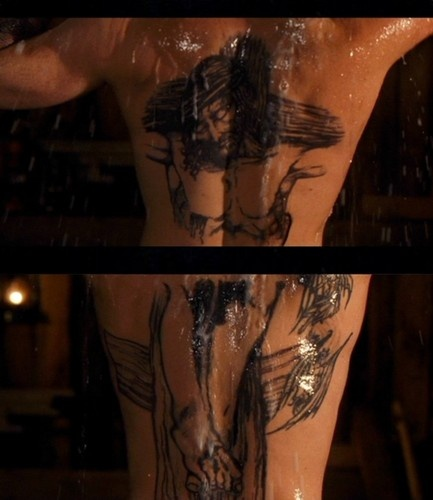 Boondock Saints' back tattoos. Yum. One of my favorite