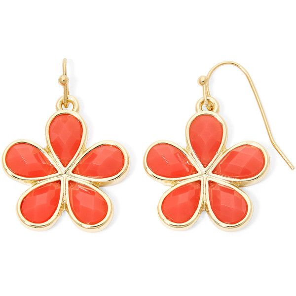 Liz Claiborne Orange Stone Flower Drop Earrings found on Polyvore