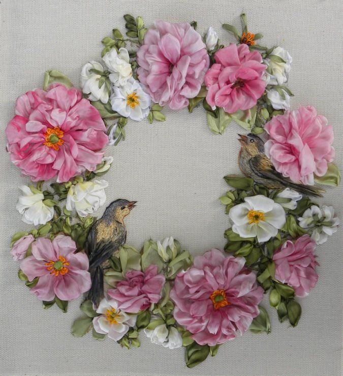 Flower wreath with bird silk ribbon embroidery