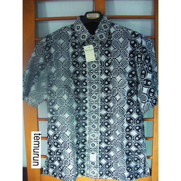 Black & white batik cap, kawung garutan - Temurun.