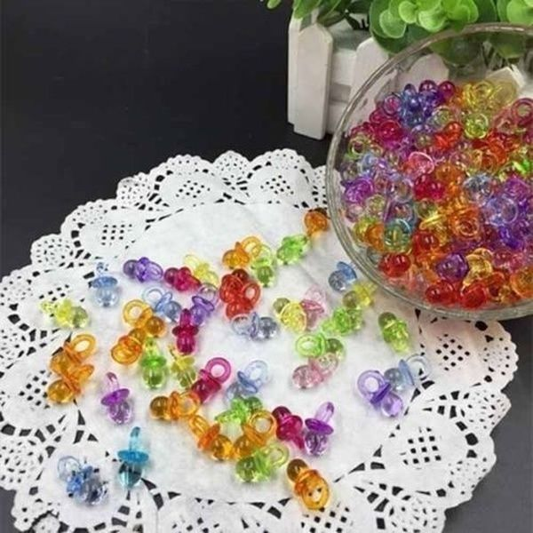 Beautiful Bead 50 pcs Acrylic Mini Pacifiers Baby Shower Decorations Favors Pink