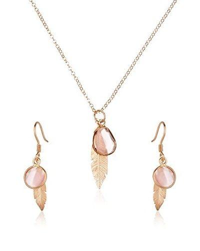 ZZ-Cordoba Jewels Conjunto de cadena, colgante y pendientes plata de ley 925 mil茅simas ba帽ada en oro