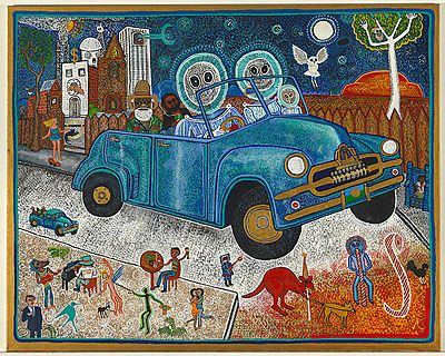Family in Blue Holden by Trevor Nickolls; 1998; synthetic polymer paint on linen synthetic polymer paint on canvas; 121.5 h x 152.5 w cm | National Gallery of Australia