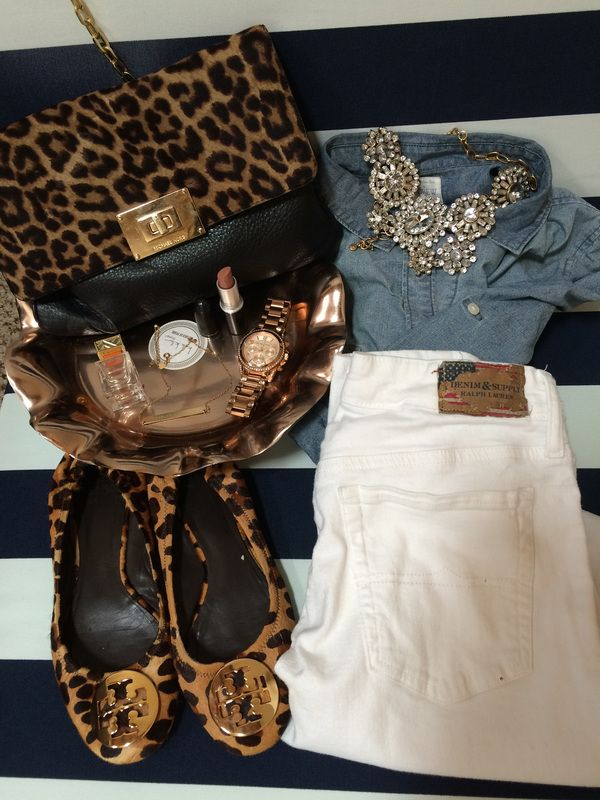 Tory Burch leopard Reva flats, Ralph Lauren white skinny jeans, Michael Kors watch, Michael Kors cross-body satchel, J. Crew Chambray, J.Crew statement necklace, MAC Cherish lipstick, Tory Burch perfume, Michael Kors Watch BUY HERE www.everygoodwoman.weebly.com