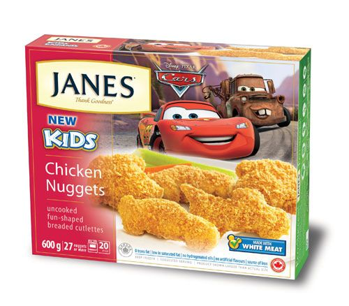 Ka-chow! Introducing Janes Disney Cars Chicken Nuggets: made with 100% white meat, these fun-shaped chicken nuggets - including Mater and Lightning McQueen shapes - are the perfect protein meal or snack to keep your little one's engine running. Trans fat free, low in saturated fat and free of artificial flavours so you can feel good about serving them too!