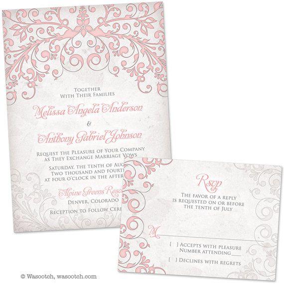 Blush Pink Grey Floral Arbor Wedding Invitation and by wasootch,