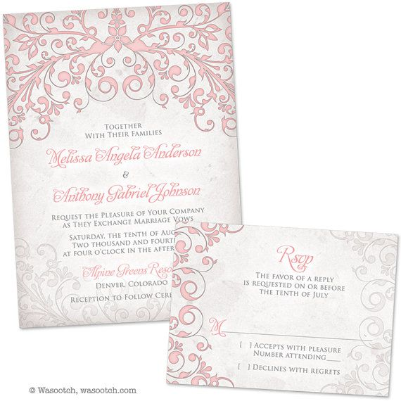 Blush Pink Grey Floral Arbor Wedding Invitation and by wasootch, $115.00