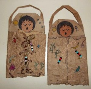 """dried"" animal skin papoose craft with instructions"