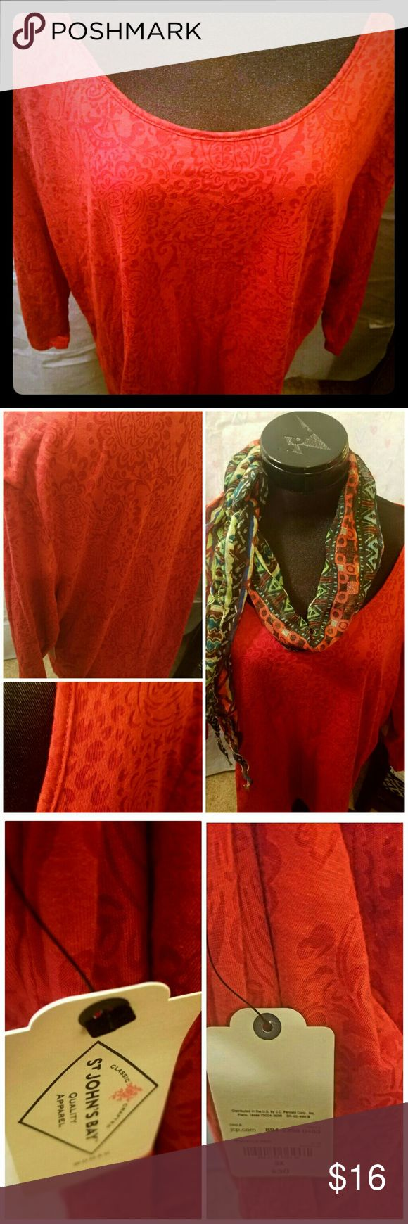 St. Johns Bay Red Tunic size 3X.  NWT. St. Johns Bay Red Tunic with scoop neck. Size 3X.  NWT. 3 qtr. Sleeves.  Gorgeous shade of red!  Originally  $30. Good quality.   Wash and wear.   Smoke free. St. John's Bay Tops Tunics