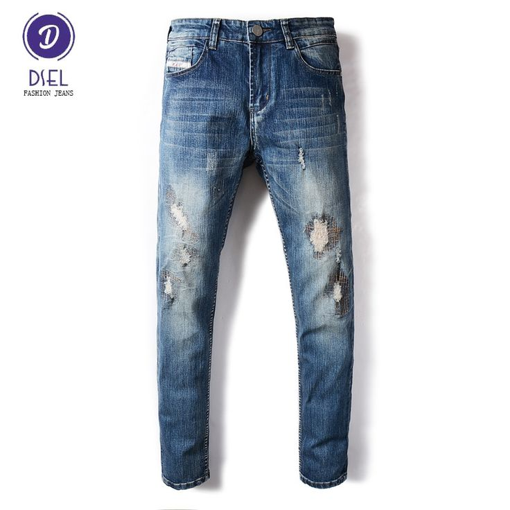 24.95$  Watch here - http://alijw5.shopchina.info/1/go.php?t=32817279128 - DSEL Brand Fashion Mens Jeans Blue Color Denim Elastic Stretch Ripped Jeans Men Skinny Fit Biker Jeans Full Length Casual Pants  #aliexpress