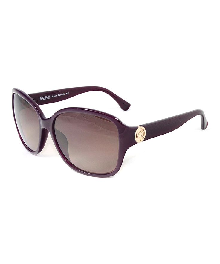 Pomegranate & Gold Detail Rectangle Sunglasses