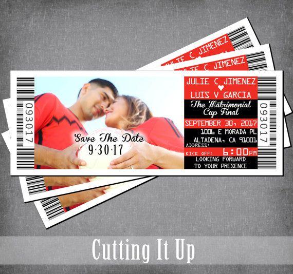 Soccer Save The Date Ticket Magnet, Sports Theme, Wedding Announcement, Football, Bar Mitzvah, Bat Mitzvah, Custom