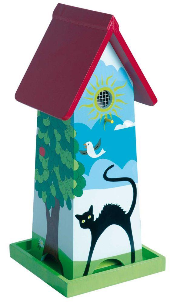 vogelhaus mit st nder katze vogelvilla vogelburg. Black Bedroom Furniture Sets. Home Design Ideas