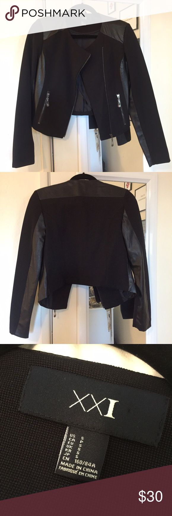 black moto syle jacket with faux leather details black moto syle jacket with faux leather details Forever 21 Jackets & Coats