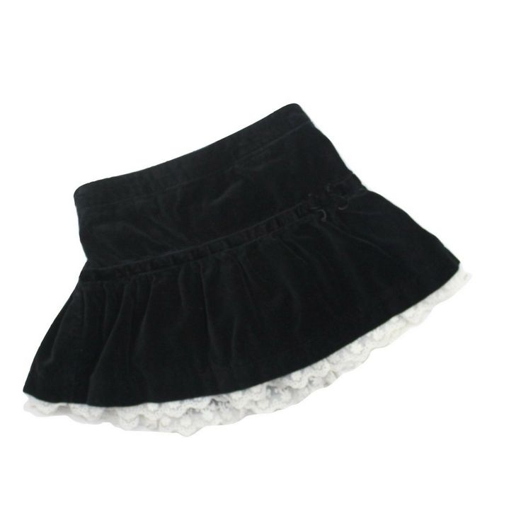 Girls Black Velvet Skirt with White Lace Hem and Built In Bloomers by Children's Place in Size 3T, $5.00